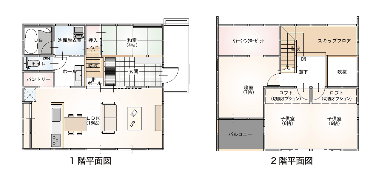 TRETTIO GRAD1階・2階平面図(田村市の新築注文住宅・リフォーム・リノベーション、田村産業株式会社)