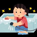 風呂掃除をする主婦のイラスト