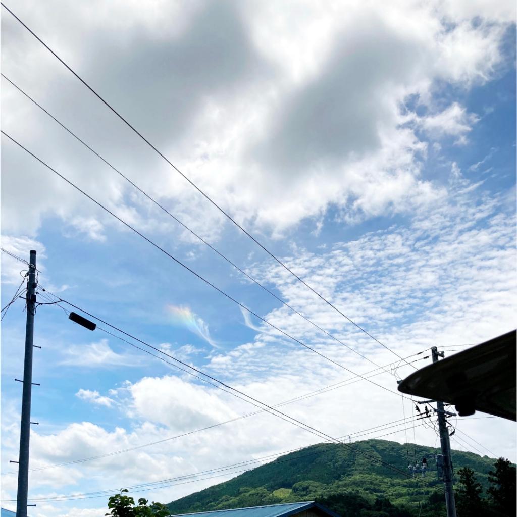 福島県田村市船引町の虹がかかった青空